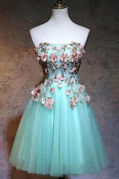 Fashionable Tulle Short Sweetheart Mint Green Party Dress, Homecoming Dresses