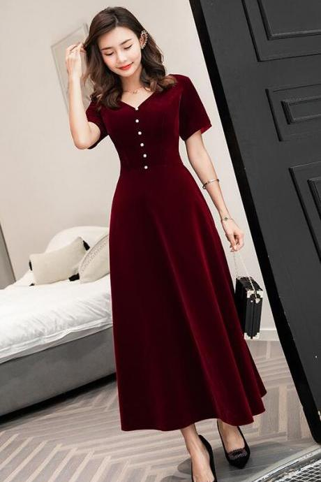 Burgundy Velvet Tea Length Bridesmaid Dress, Short Sleeves Prom Dresses