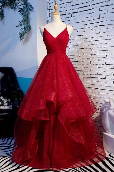 Beautiful Straps Tulle Long Wine Red Prom Dress, New Party Dress Evening Dress