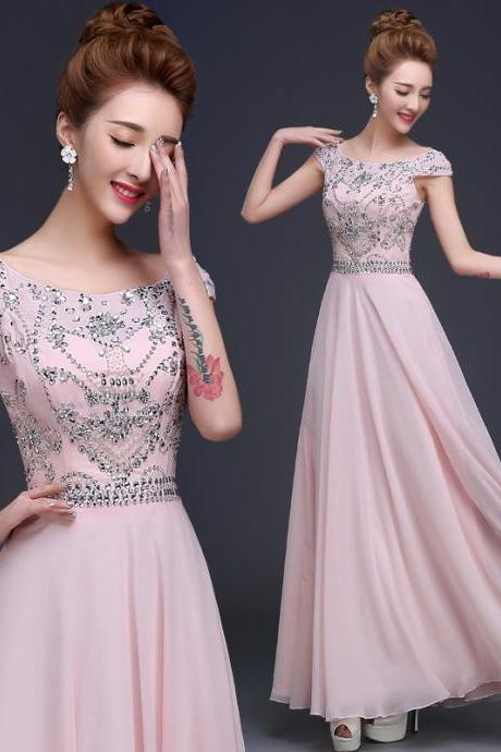 Beautiful Pink Beaded Chiffon High Quality Long Party Dress, Cap Sleeves Floor Length Prom Dress