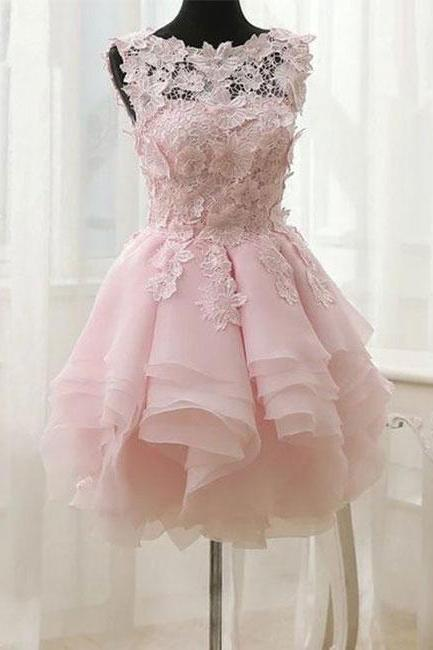 Short Pink Layers Lace Homecoming Dress, Pink Party Dress