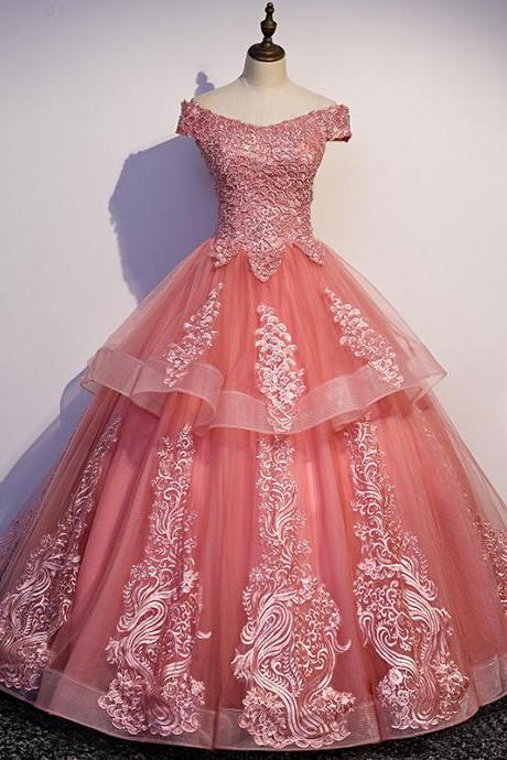 Glam Tulle Pink Layers Ball Gown Princess Party Dress, Sweet 16 Dresses
