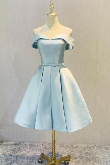 Simple Short Light Blue Satin Homecoming Dress, Fashionable Short Prom Dress