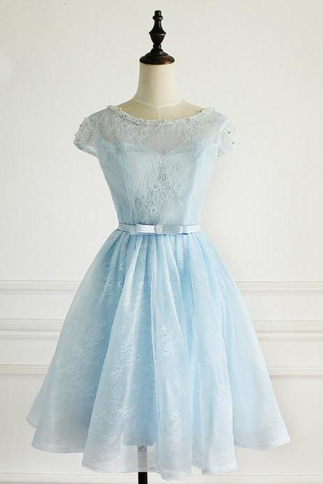 Blue Short Lace Prom Dress, Lovely Blue Knee Length Party Dress