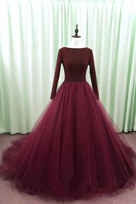 Beautiful Wine Red Tulle Long Sleeves Backless Party Dress, Wine Red Formal Gown
