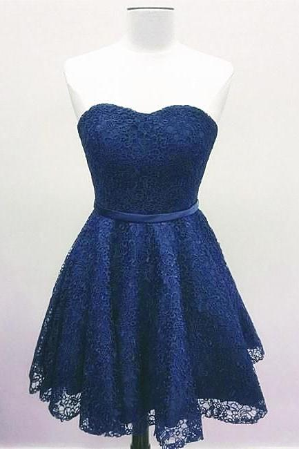 Blue Lace Sweetheart Simple Knee Length Party Dress, Lace Homecoming Dress