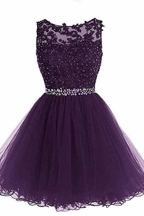 Purple Lovely Tulle Round Neckline Short Homecoming Dress, Purple Short Prom Dress