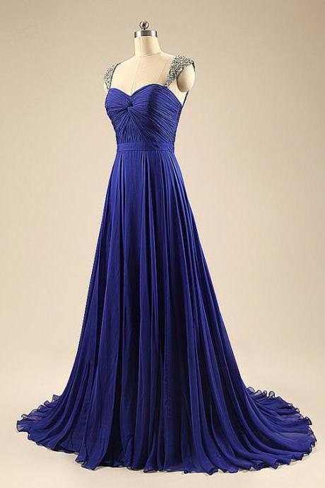 Beautiful Blue Straps Beaded Sweetheart Chiffon Prom Dress, Blue Wedding Party Dress