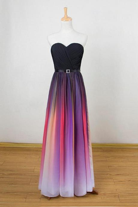 Beautiful Gradient Simple Sweetheart Floor Length Prom Dress, Long Formal Dress