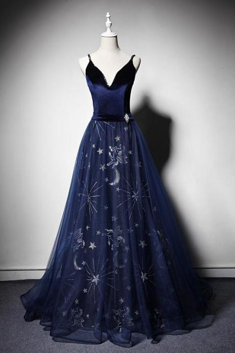 Beautiful Navy Blue Straps Velvet and Tulle Long Evening Dress, Blue Prom Dress 2021