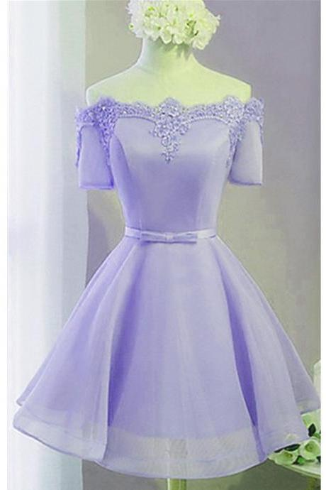 Lovely Light Purple Short Sleeves Tulle Prom Dress with Lace Applique, Homecoming Dress