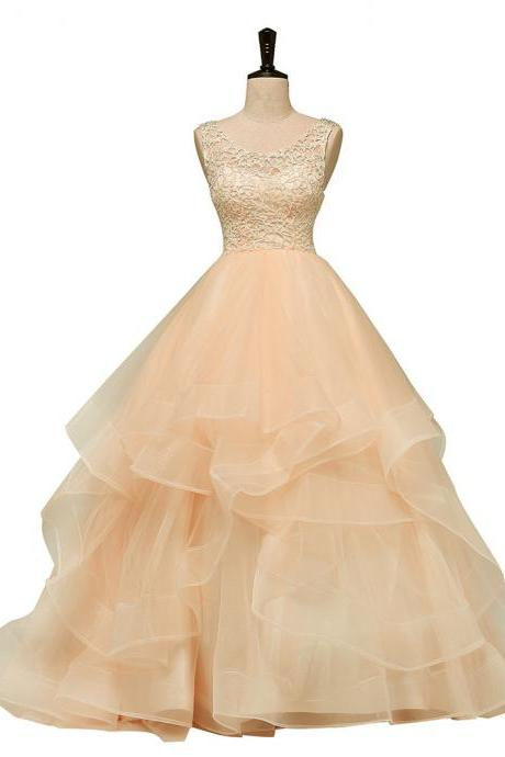 Lovely Light Champagne Lace and Tulle Long Formal Dress, Layers Sweet 16 Dress