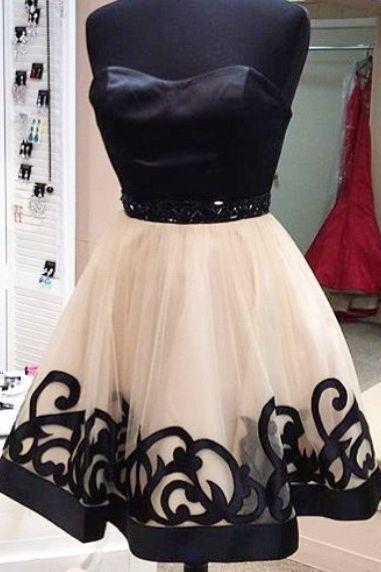Lovely Black and Champagne Tulle Short Prom Dresses, Prom Dresses 2016, Homecoming Dresses, Party Dresses