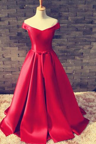 Gorgeous Red Off Shoulder Satin Long Prom Gown 2017, Red Prom Dresses , Red Evening Gowns