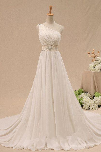 Charming One Soulder White/Ivory Chiffon Long Prom Gowns, One Shoulder Wedding Dresses, Formal Gowns