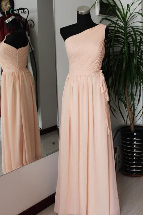 Charming One Shoulder Pear Pink Long Simple Bridesmaid Dresses, Pink Bridesmaid Dresses, Simple Prom Dresses 2016, Wedding Party Dresses