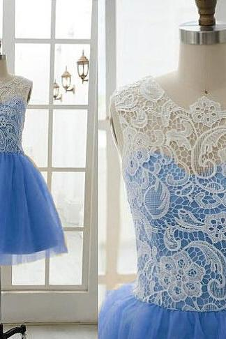 Adroable Blue Short Ball Gown Lace Prom Dresses2016, Blue Homecoming Dresses, Cute Short Formal Dresses 216