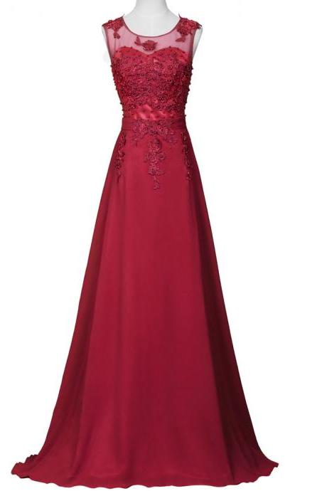 Burgundy Floor Length Chiffon A-Line Evening Dress Featuring Beaded Embellished Lace Appliqués Sweetheart Illusion Bodice.