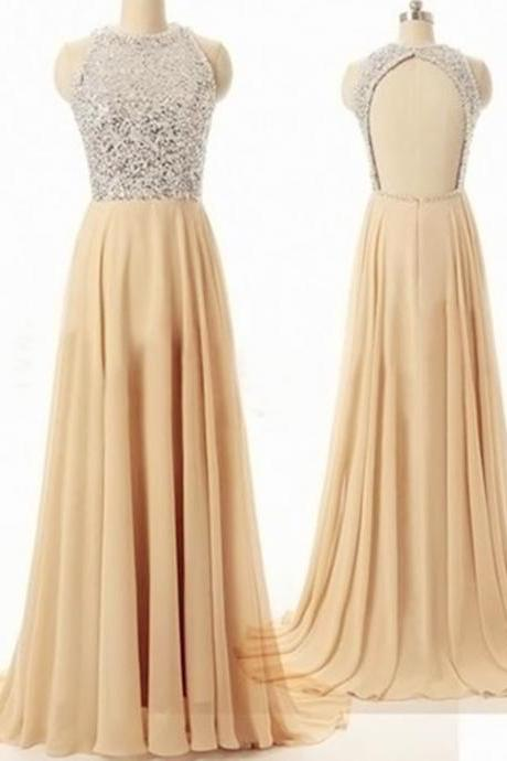 Beautiful Champagne Sequins Backless Prom Dresses 2016, A-Line Floor-Length Evening Dresses, Prom Dresses Gowns 2016