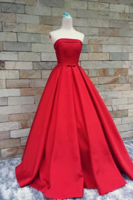 Elegant Red Satin Handmade Prom Gown 2016, Red Prom Dresses, Evening Dresses