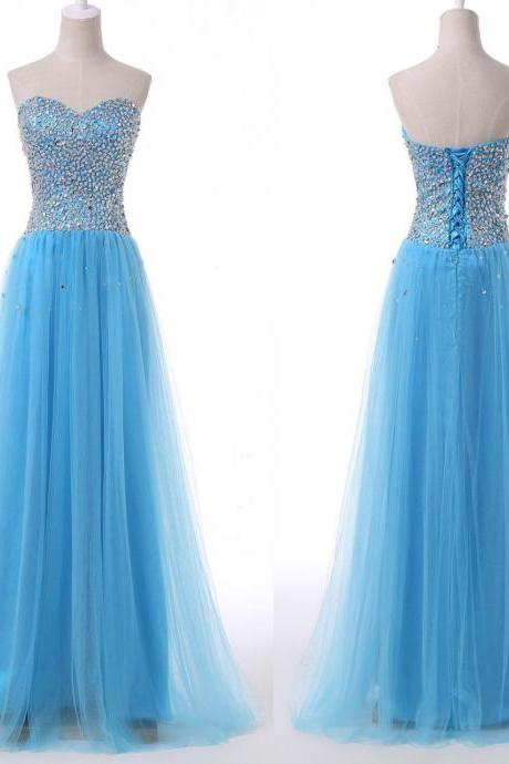 Beautiful Handmade Blue Tulle Long Prom Dress 216, Blue Prom Dresses, Prom Gowns 2016
