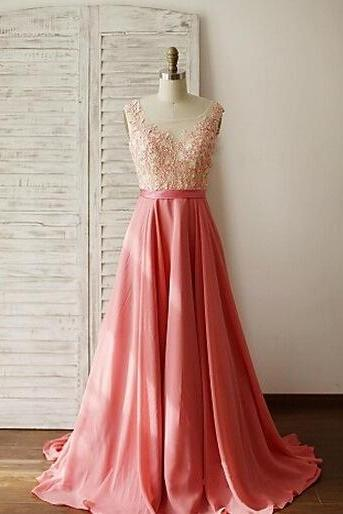 Beautiful Handmade Pink Long Prom Dress with Lace Applique, Prom Gowns, Party Dresses, Evening Gowns
