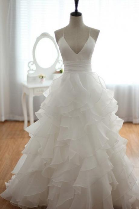 Charming White V-neckline Organza Cross Back Prom Gowns, Wedding Gowns, White Evening Gowns