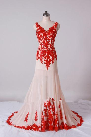 Beautiful Handmade V-neckline Prom Gown with Red Lace Applique, Red Prom Gowns, Formal Dresses, Party Dresses