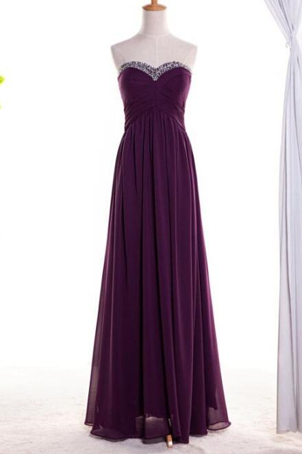 Pretty Simple Purple Long Chiffon Beaded Sweetheart Prom Dresses, Purple Prom Dresses, Party Dresses