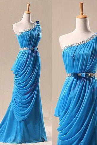 Elegant One Shoulder Blue Long Prom Gown with Belt, Blue Prom Gowns,Prom Dresses 2017