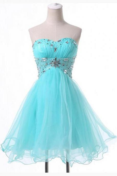 Light Blue Short Tulle Homecoming Dress Featuring Ruched Sweetheart Bodice with Beaded Embellishments and Lace-Up Back