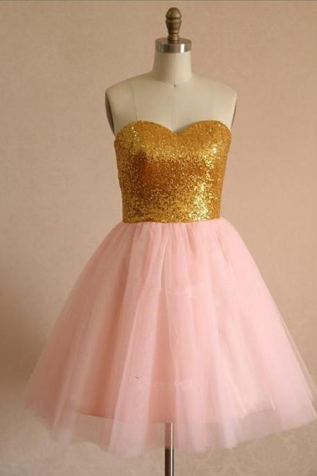 Cute Short Handmade Light Pink Tulle Sequins Homecoming Dresses, Short Prom Dresses, Party Dresses