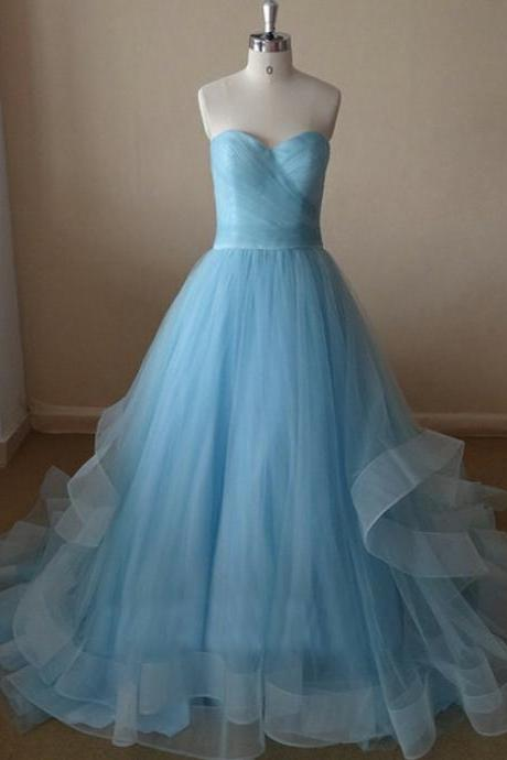 Beautiful Handmade Light Blue Tulle Prom Gowns 2017, Blue Prom Dresses, Evening Dresses