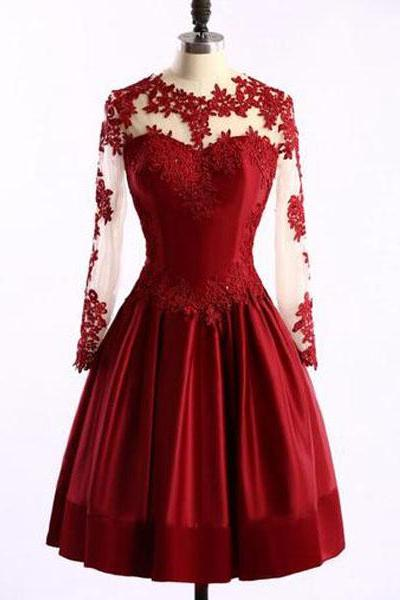 Elegant Long Sleeves Burgundy Knee Length Prom Dress with Lace Applique, Wine Red Homecoming Dresses, Short Party Dresses