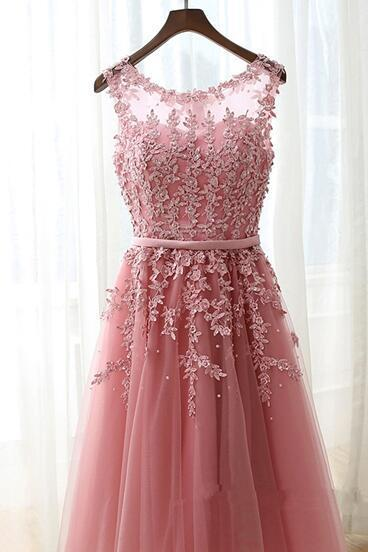 Lovely Handmade Pink Tulle Knee Length Short Prom Dresses, Cute Homecoming Dresses, Sweet 16 Dresses
