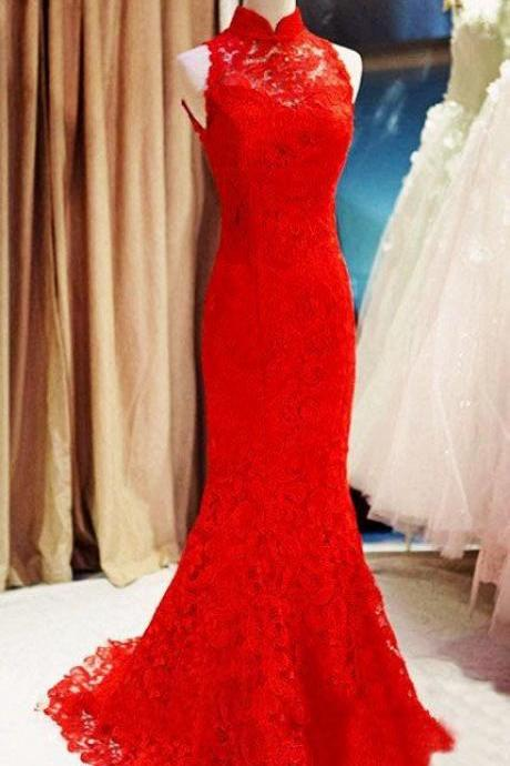 Beautiful Custom Made Lace Halter Mermaid Prom Dresses, Red Prom Gowns, Party Dresses, Red Evening Dresses