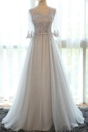 Beautiful Grey Tulle A-line Long Lace Applique Prom Dresses, Grey Tulle Party Gowns, Tulle Evening Dresses, Grey Prom Dresses