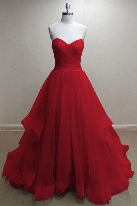 Pretty Handmade Tulle Red Sweetheart Long Prom Dresses, Red Prom Gowns, Tulle Formal Dresses