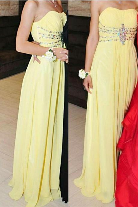 Love Scoop Chiffon Long Yellow Beaded Prom Dresses, Yellow Formal Dresses, Long Party Dresses, Evening Gowns