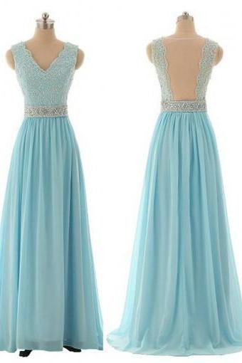 Beautiful Chiffon Handmade Light Blue Long Prom Dress with Lace Applique, Prom Dresses 2017, Blue Prom Dresses