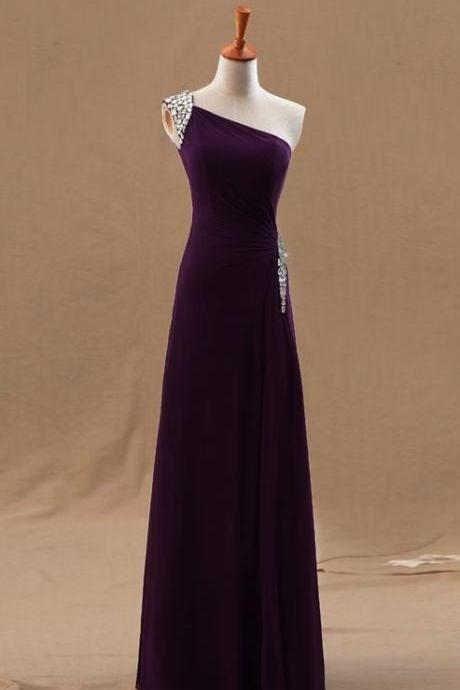 Pretty Chiffon One Shoulder Beaded Long Slit Prom Dresses, Prom Dresses 2017, Purple Evening Gowns