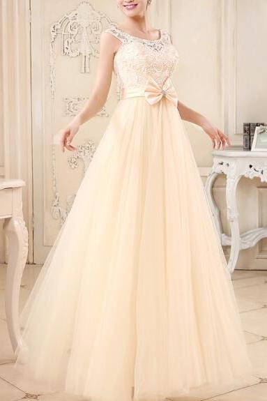 Lovely Champagne Tulle and Lace Long Handmade Prom Dresses 2017, Cute Formal Dresses, Evening Dresses