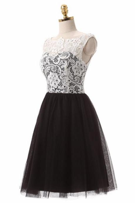 Lovely Black and White Lace and Tulle Knee Length Bridesmaid, Lace Short Prom Dresses, Tulle Homecoming Dresses