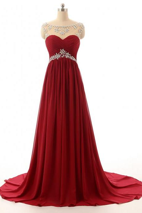 Pretty Chiffon Wine Red Long Beaded Prom Dresses, Burgundy Prom Dress 2017, Long Party Dresses, Formal Dresses