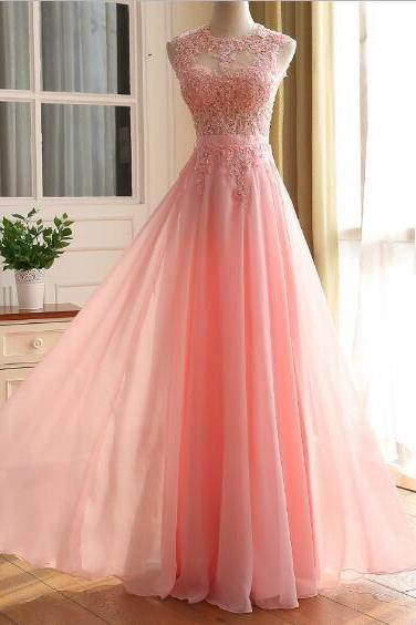 Elegant Chiffon Pink A-line Floor Length Long Party Dress, Prom Dress with Lace Applique, New Style Prom Dress 2017