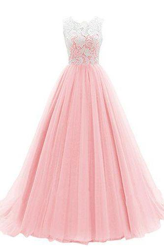 Lovely Pink Tulle and Lace Prom Gowns, Pink Long Party Dresses, Prom Dress 2017