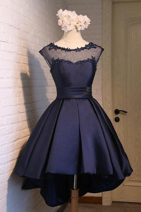 Cute Navy Blue High Low Satin Round Prom Dresses, Homecoming Dresses 2017, Short Prom Dresses 2017