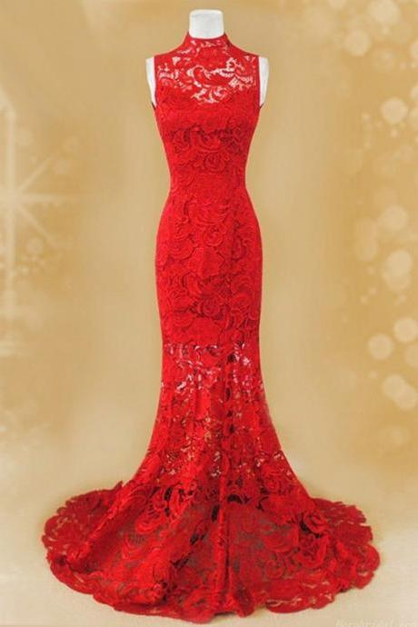 Pretty Red Lace Mermaid Party Gowns, Lace Formal Dresses, Red Long Prom Dresses 2017
