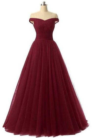 Charming Burgundy Maroon Tulle Ball Gown Prom Dress 2017, Off Shoulder Long Party Dresses, Tulle Evening Gowns