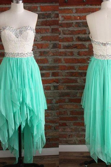 Lovely High Low Mint Green Chiffon Prom Dresses, Sweetheart Beaded Homecoming Dresses, Graduation Dresses